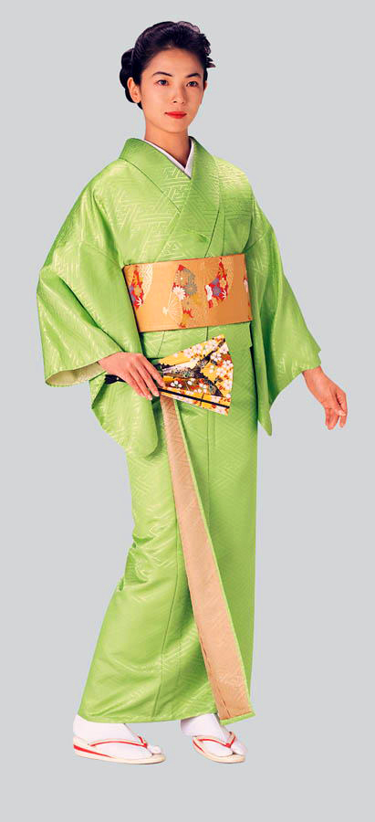 Double-faced Kimono fabric bolt (Lime green x beige)
