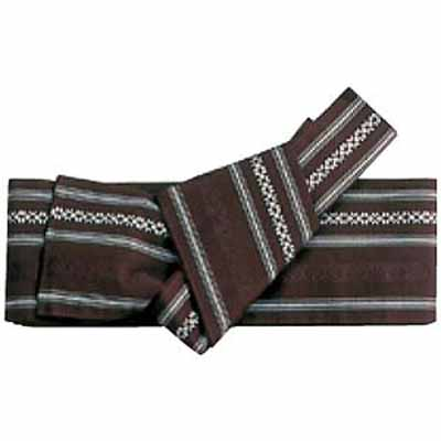 Ready Tied Obi (sash or belt for Kimono) Kenjo, Brown, poly mix